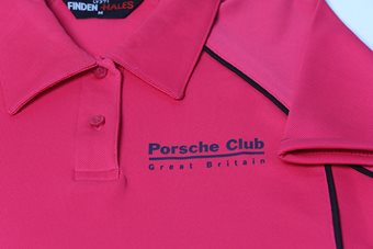 Ladies Fuchsia Piped Polo